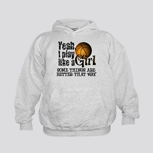 Play Like a Girl - Basketball Kids Hoodie